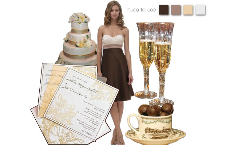 Chocolate brown and champagne wedding colors for the Texas wedding