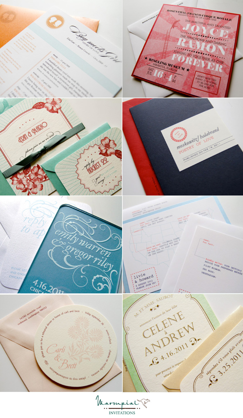 Marsupial wedding invitations from Needle in a Haystack and Stardust Celebrations