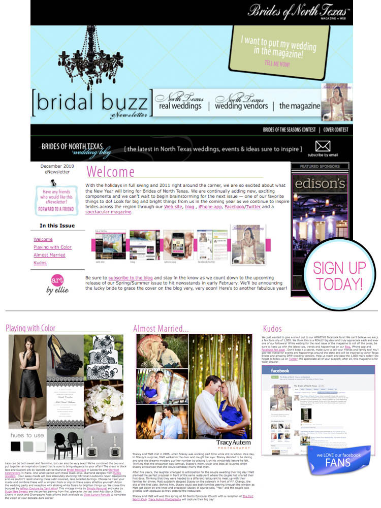 Sign up for the Brides of North Texas monthly eNewsletter!