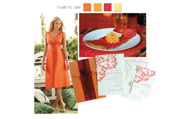 Sunrise orange bridesmaid dress from the Dessy Collection, place setting by Nest Floral Studio in Lewisville, Texas, and invitation available at Paper and Chocolate in Dallas and Byrd and Bleecker in Fort Worth