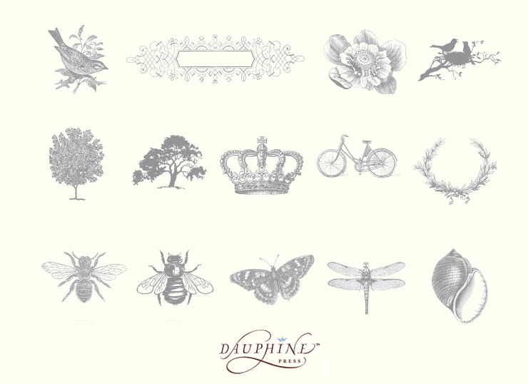 Wedding motifs by Dauphine Press available at Paper and Chocolate, Write Selection and Byrd + Bleecker