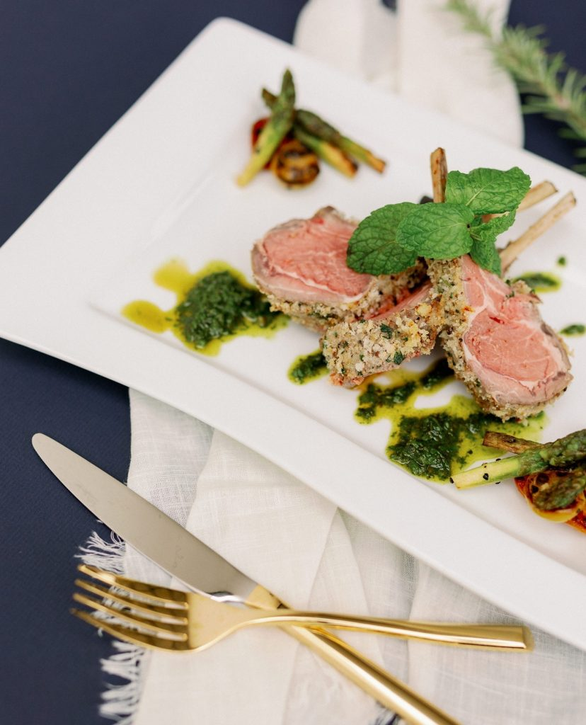Surprise your guests with delicious chimi-chimi pops prepared by gilscatering with slow-roasted Rockport rack of lamb with spring mint, roasted