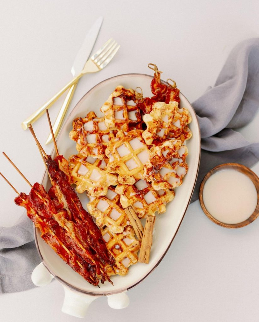 Name a better duo than waffles & bacon... BTW these are cinnamon roll waffles & black pepper BBQ bacon prepared