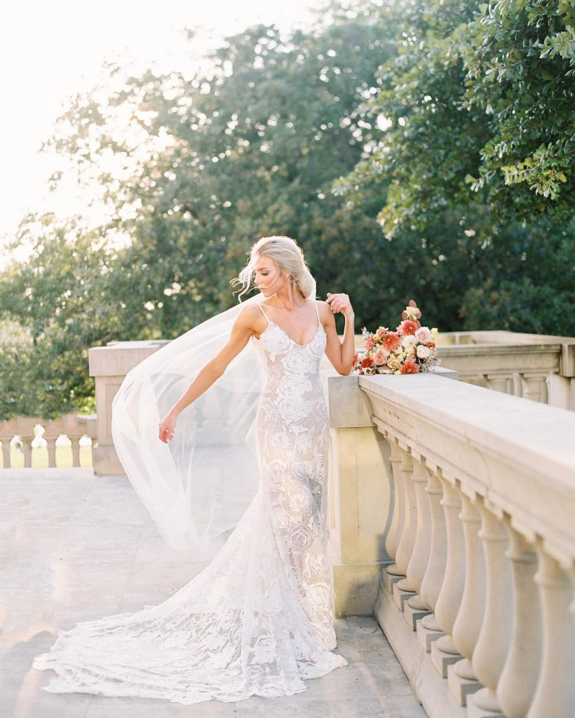 The rosette lace on this grace_loves_lace gown is our FAVE!!! ? Shop the full collection locally at the Dallas salon!