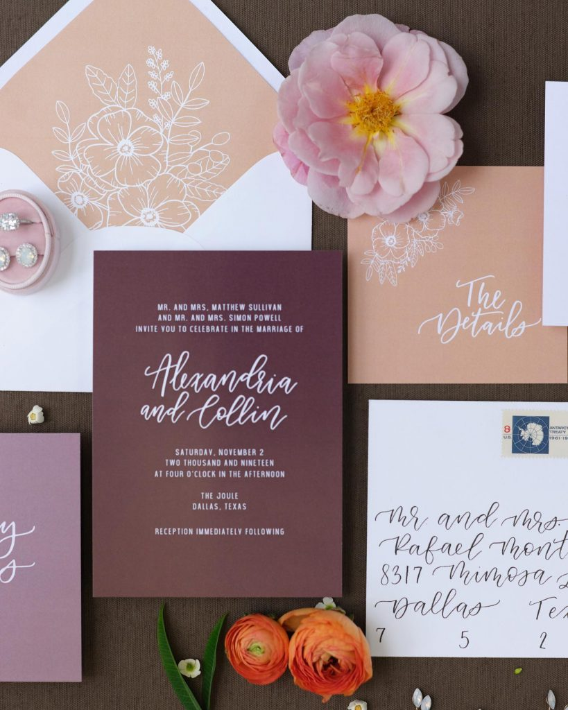 """""""For the stationery, I used all different color paper to tie in the different color florals and even the carpet"""