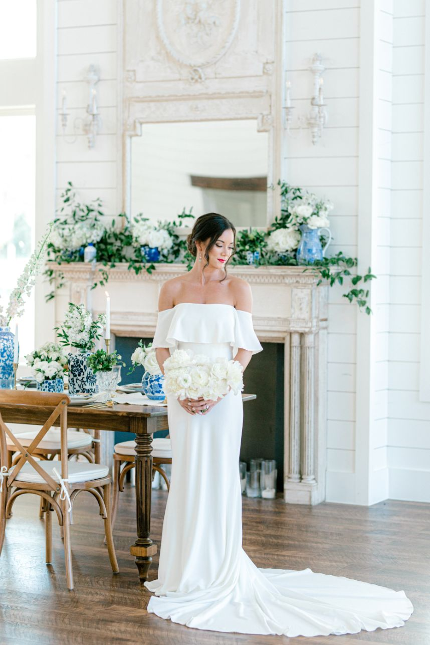 bride in front of table