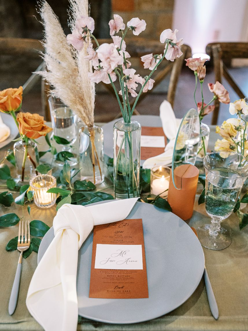 fall wedding tablescape details