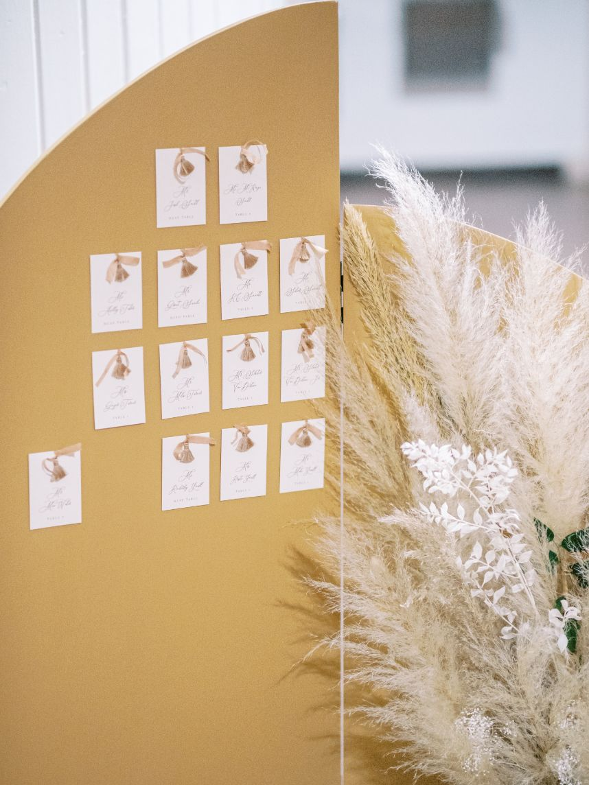 boho seating chart with pampas grass