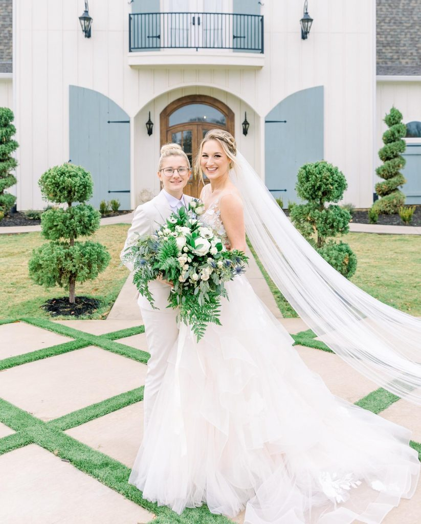 Jess + Emily said yes to forever at thefrenchfarmhousevenue with a bright + airy wedding full of blue hues galore