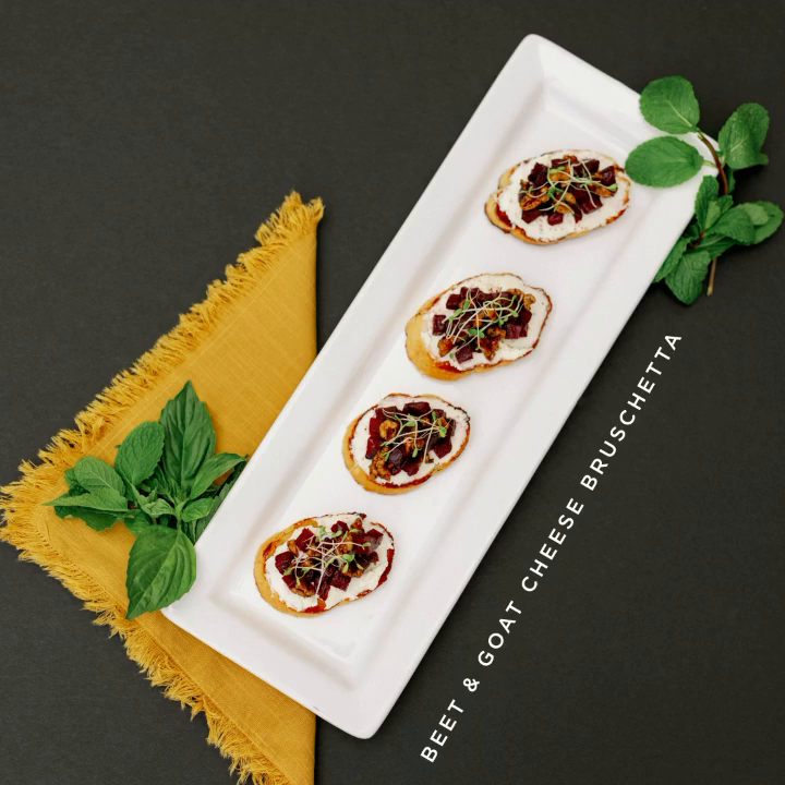 How badly we want to reach into this photo and nab one of these beet & goat cheese bruschetta apps