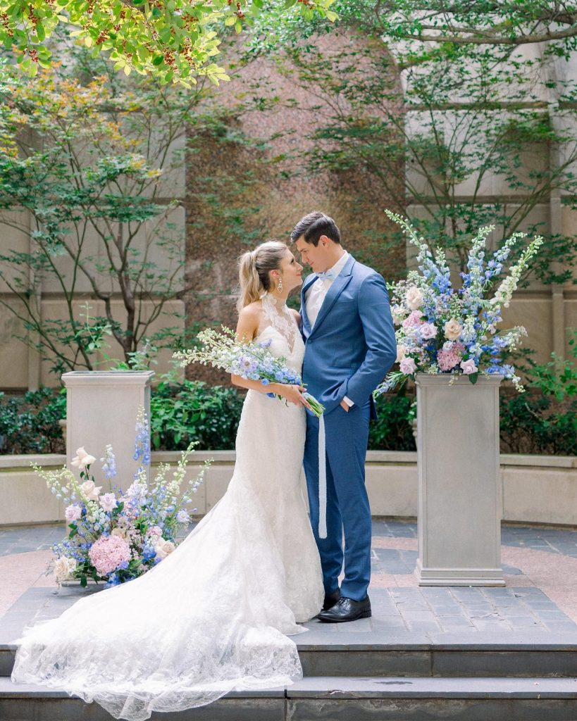 """Planner Ginny of julepevents took the age-old wedding tradition of incorporating """"something blue"""" to the next level in this soft"""