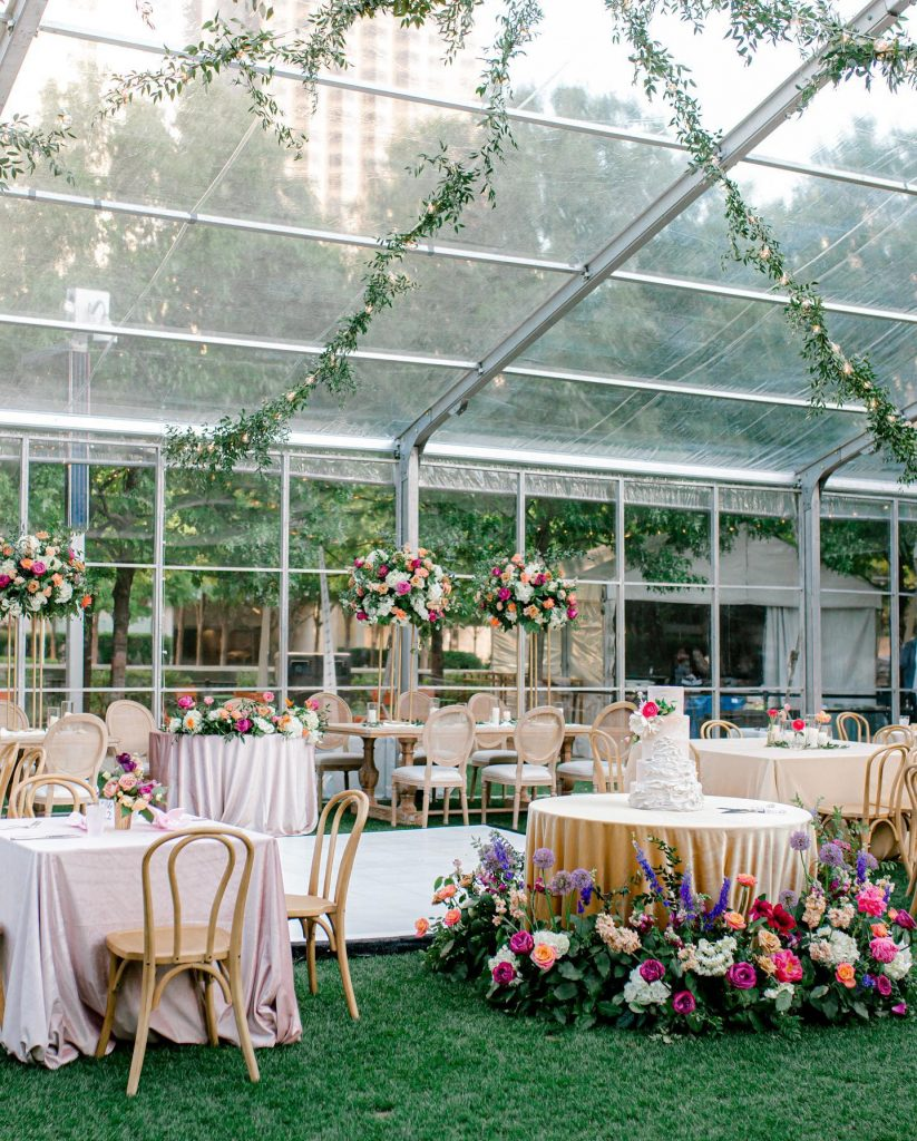 This styled inspo tells the story of a colorful + classically elegant tented garden party wedding in the park, complete